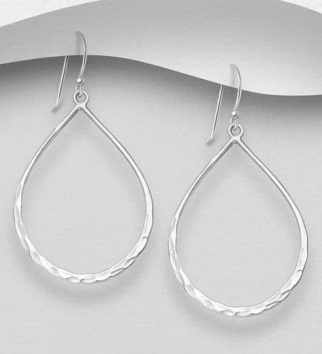 925 Sterling Silver Pear-Shaped Hook Earrings